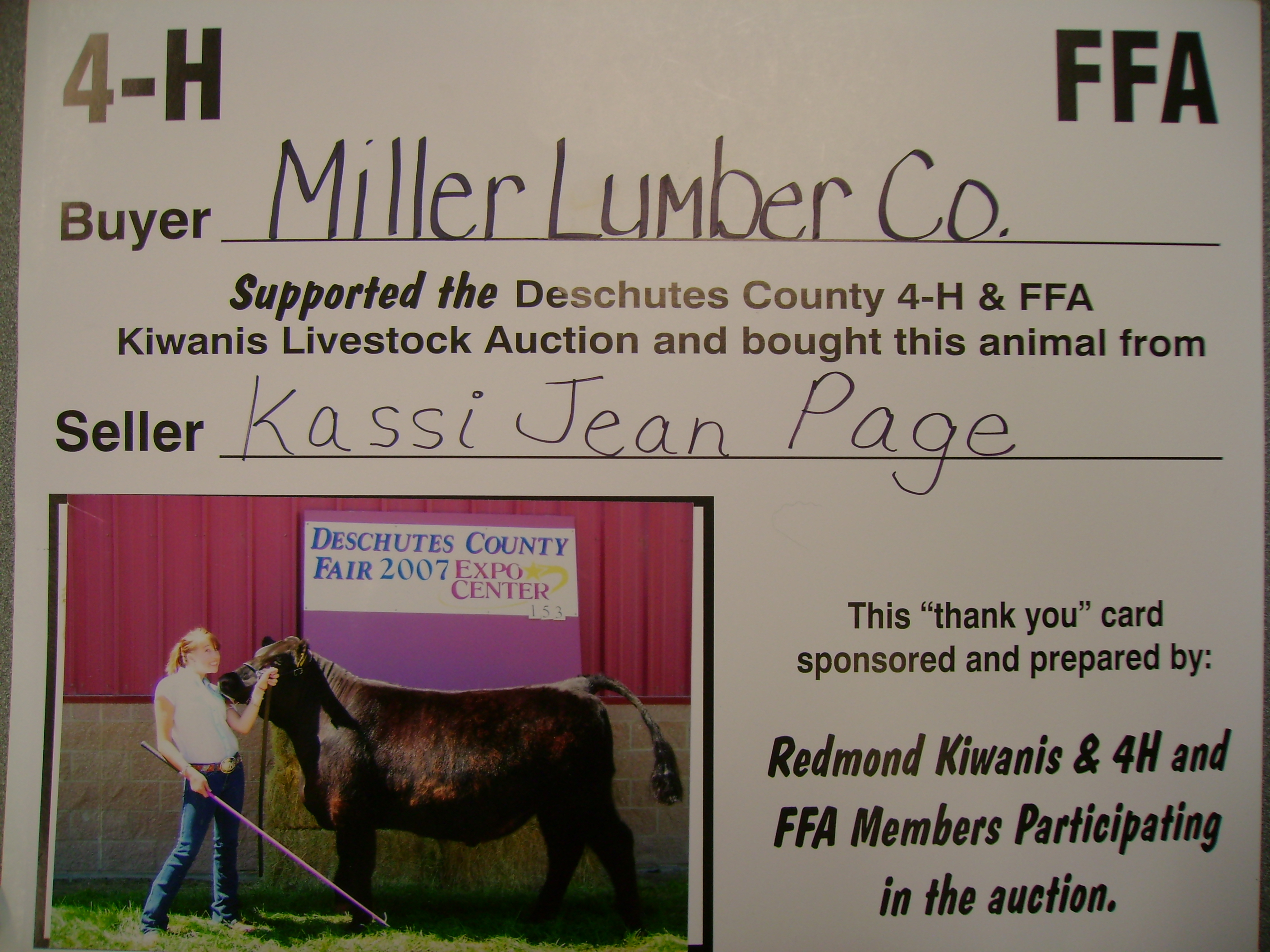 Every year, Miller Lumber supports 4-H and FFA by participating in the auctions at the Deschutes County Fair.