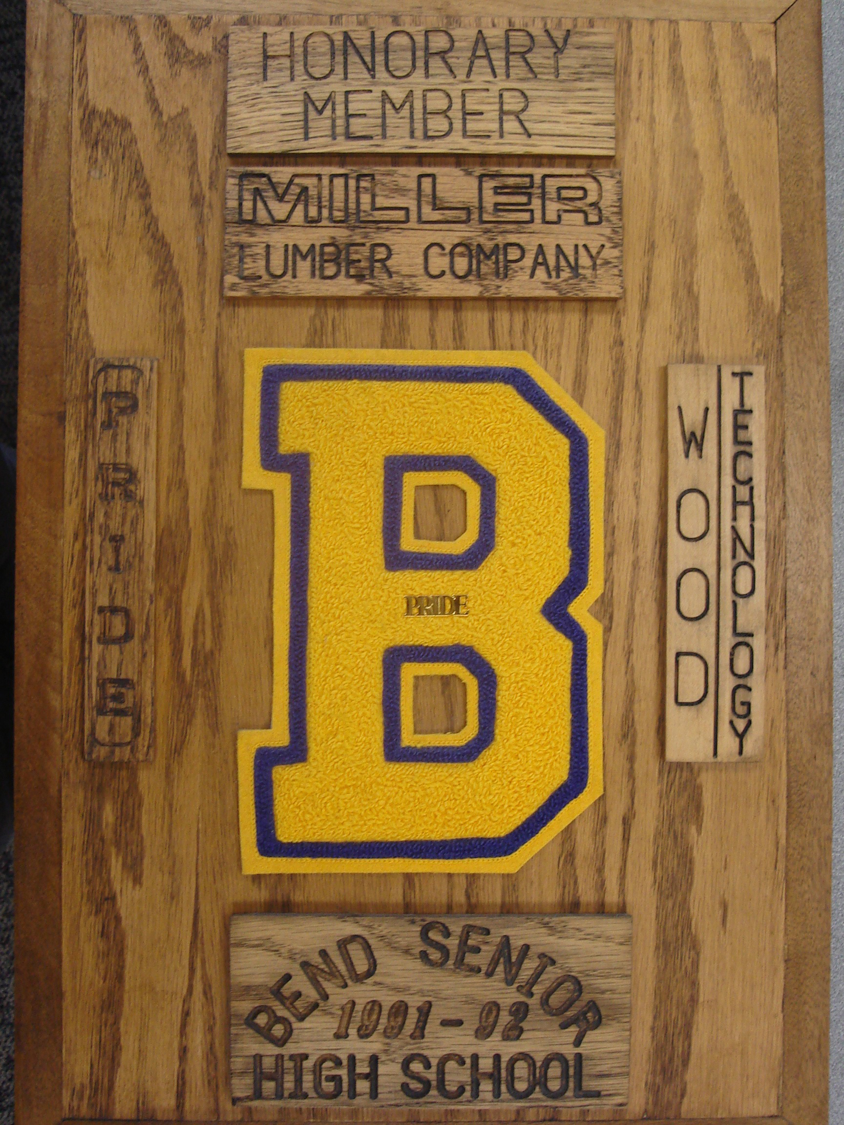 For the 1991-1992 school year, Miller Lumber was named an honorary member of Bend High School's Wood Technology.