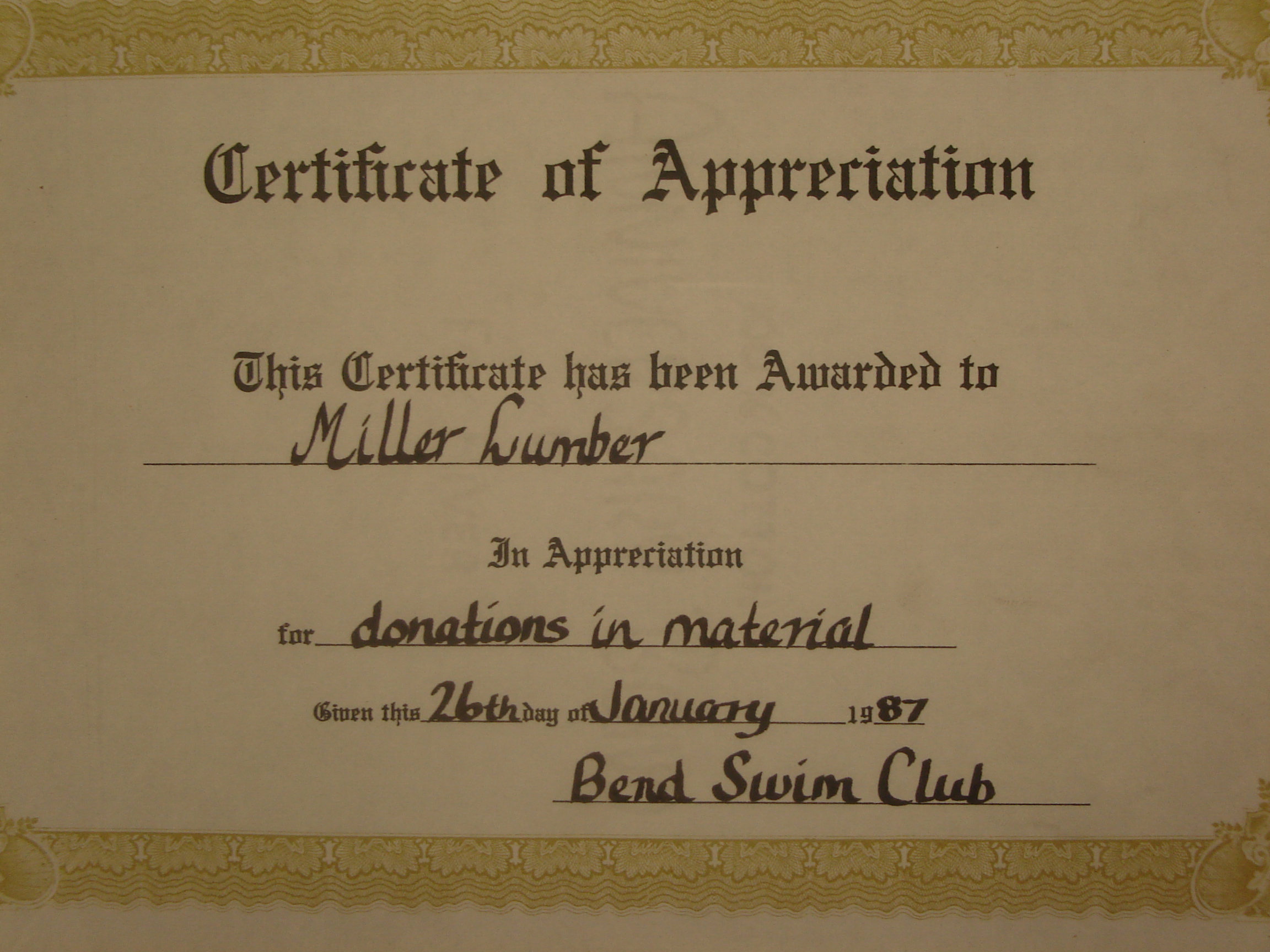 Miller Lumber has been involved in local sports teams for decades including their 1987 donations to the Bend Swim Club.
