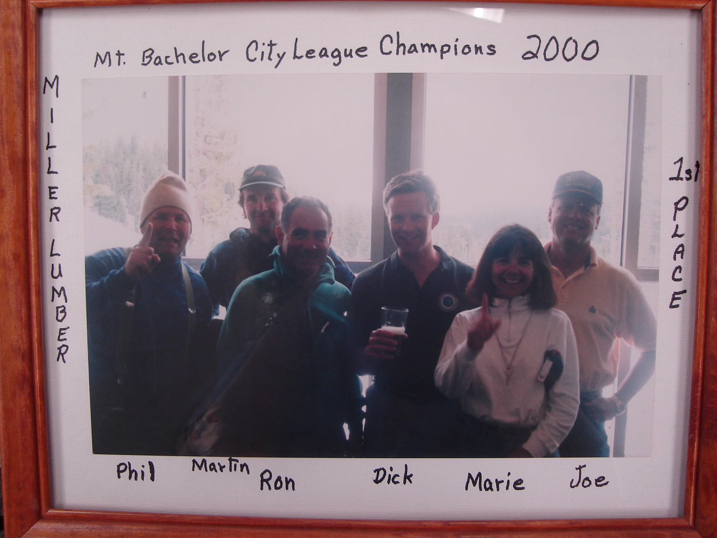 Every winter, Miller Lumber sponsors a Mt. Bachelor City League ski-racing team. In 2000, their team won first place.