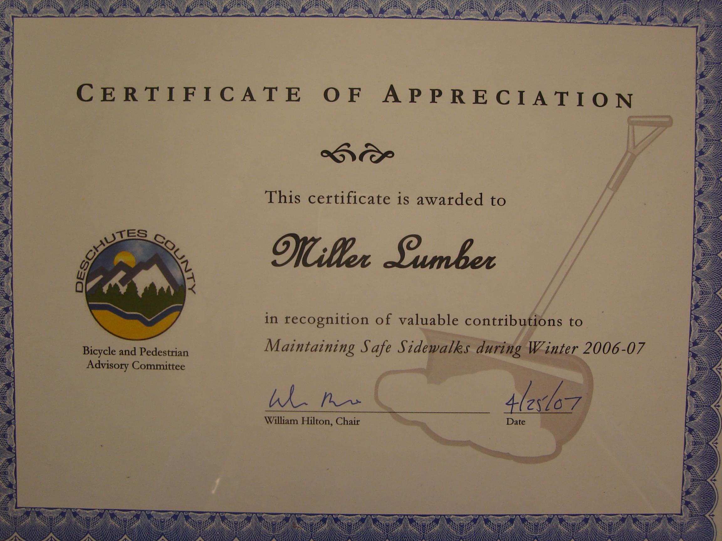 During the winter of 2006-2007, Miller Lumber contributed to Deschutes County to help maintain safe sidewalks.