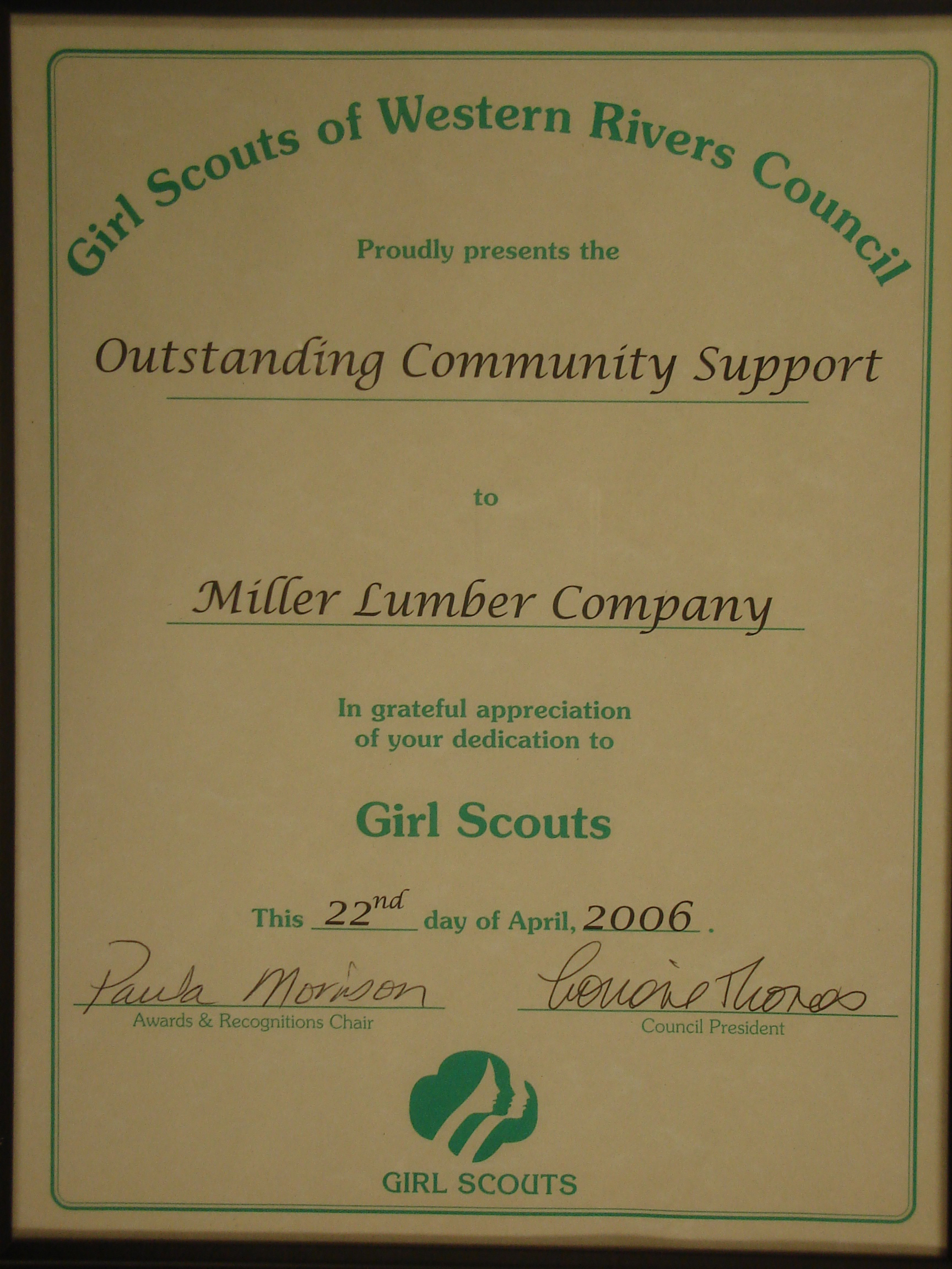 For many years, Miller has supported the Western Rivers Girl Scout Council.