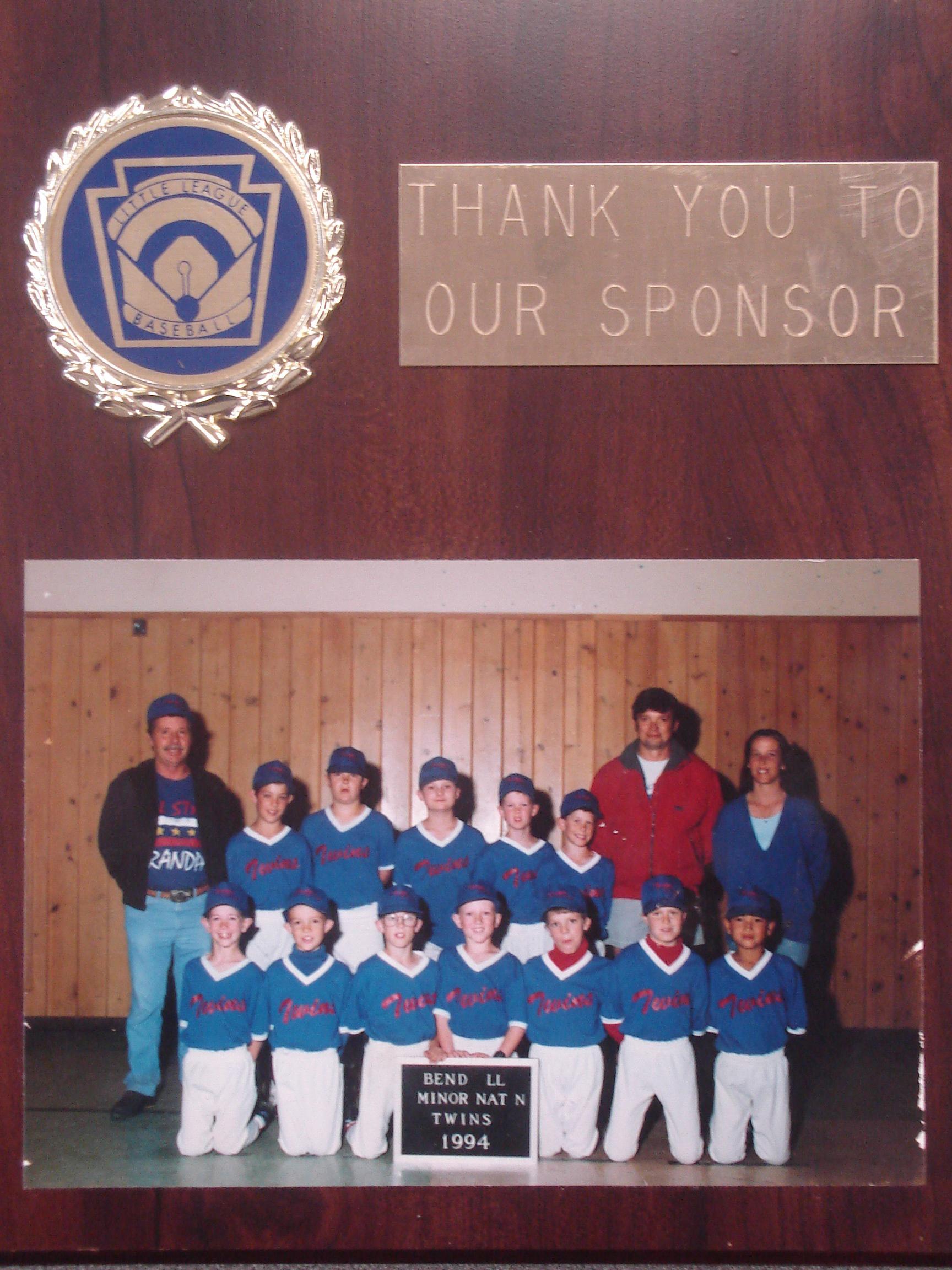 Miller Lumber sponsored this 1994 Little League baseball team.