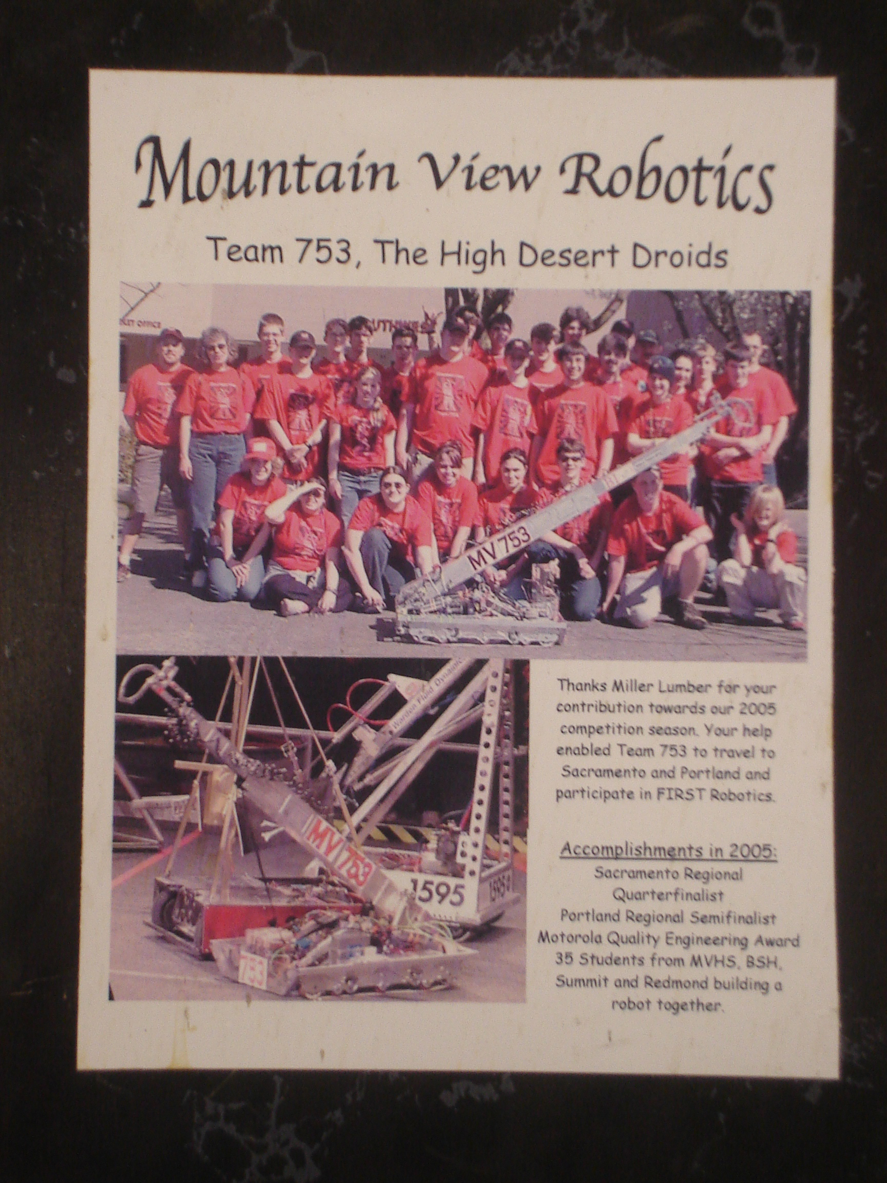 Miller Lumber supports Bend's high-school Robotics team, The High Desert Droids, as they learn about science and technology.