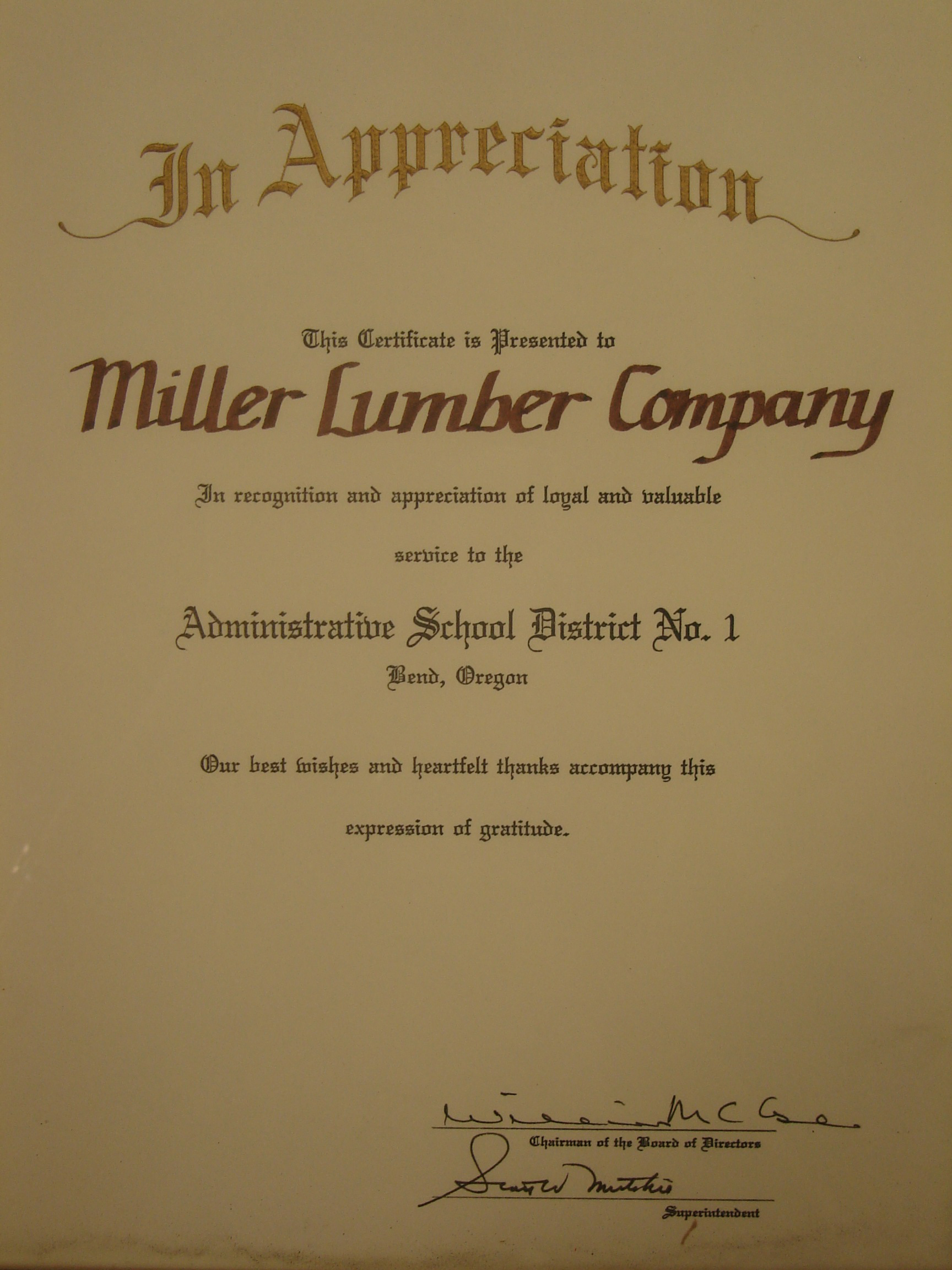 The Bend-LaPine School District greatly appreciates Miller Lumber's constant support.